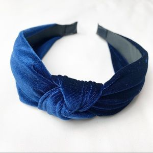 Accessories - Velvet Knotted Headband - Navy
